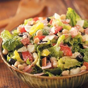 Italian Chopped Salad...yummy, but add chopped chicken to it!  For variety...could also try a sweet basil dressing:   1/3 cup olive oil,1  cup roughly chopped basil, 3 tsp lemon juice, 2 tsp honey, 3 tsp water, 1 tbsp low fat mayonnaise, Salt and pepper to taste. Combine olive oil, basil, lemon juice, honey, water and mayonnaise in a food processor until smooth.