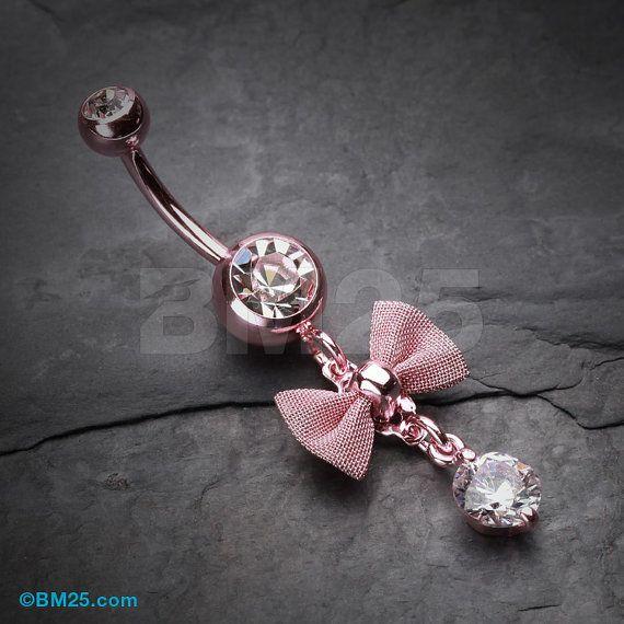 Pajarita rosa delicado anillo en el ombligo por BM25Jewelry en Etsy