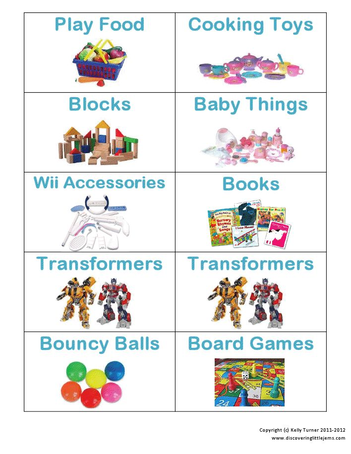 Printable Toy storage labels- I thought this was a pretty good set. While we don't have anywhere near this many categories of toys, I liked the pictures for the ones we do have.