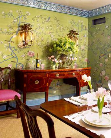 Ruthie Sommers - Chicago dining room with chinoiserie wallpaper trimmed with blue fretwork trim