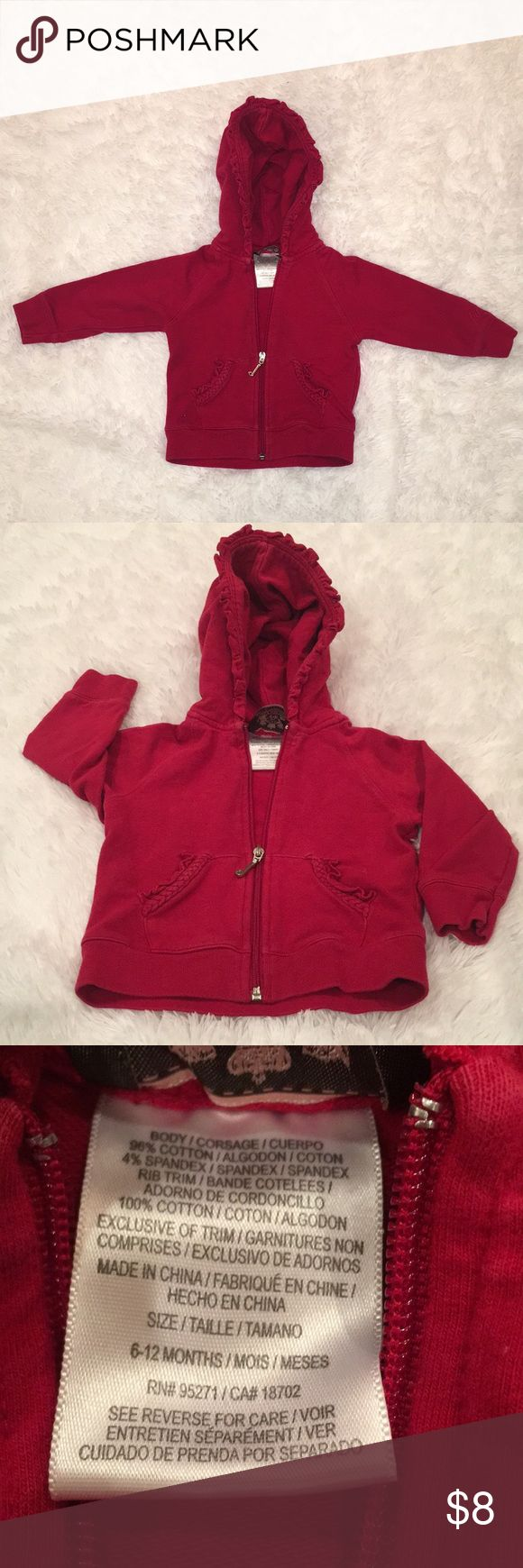 Juicy Couture Red Zip Up Jacket, 6-12 months Juicy Couture Red Zip Up Jacket, 6-12 months. In very good preowned condition! Comes from smoke-free home! Juicy Couture Jackets & Coats