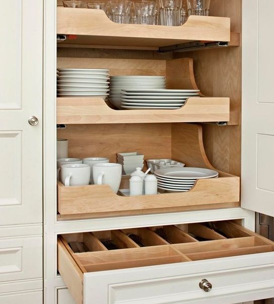 love this idea for efficient and effective dish/silver ware storage