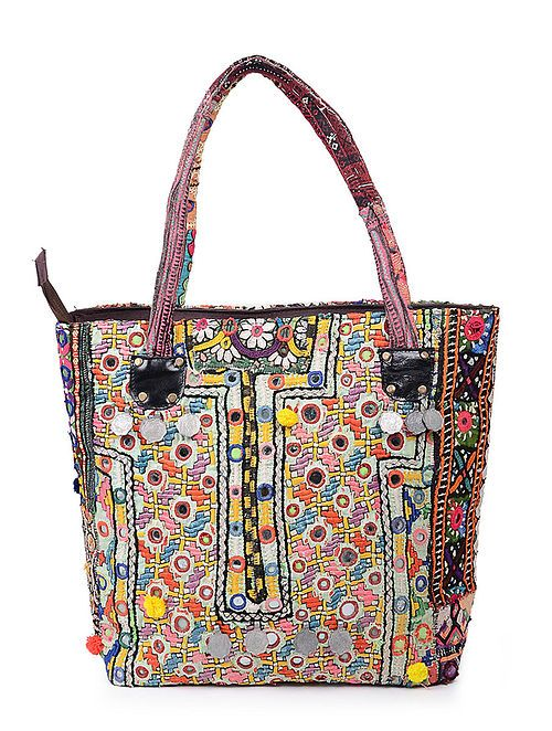 8fe94982dfa Multicolored Thread-Embroidered Tote with Mirrors and Coins in 2019 ...