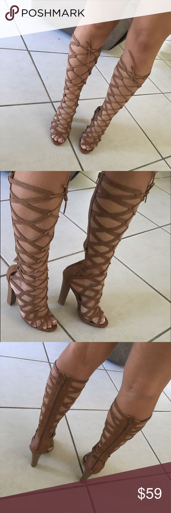 "Hour sale- Tan tall gladiator heels New.. leather tan with zipper back ...4.5"" heel. Adjustable lace up ..fits true to size no trades  no holds ⚠️⚠️firm on price unless bundling ⚠️⚠️ shop same or next day Shoes Heels"
