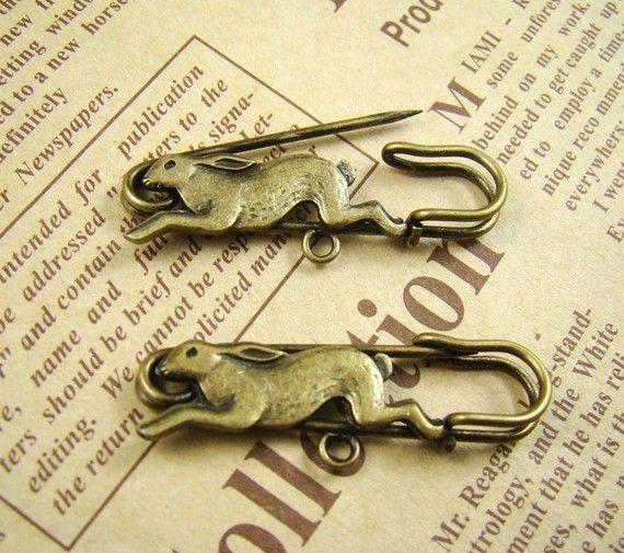 8Pcs 40mm Antique Bronze Lovely Rabbit Safety Pin Brooch HA510 on Etsy, $5.80