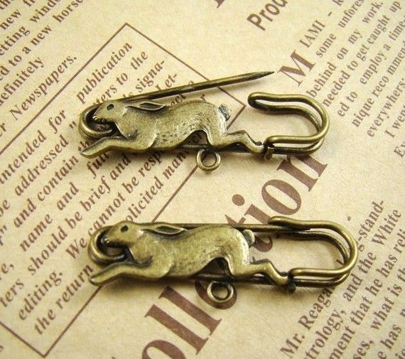 8Pcs 40mm Antique Bronze Lovely Rabbit Safety Pin Brooch HA510 on Etsy, $5.80