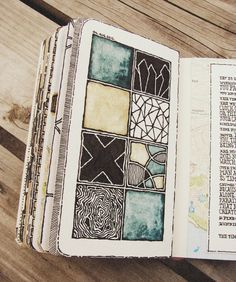 Rebecca Blair:  Moleskine 02, #081 - clear squares for experiments, different…