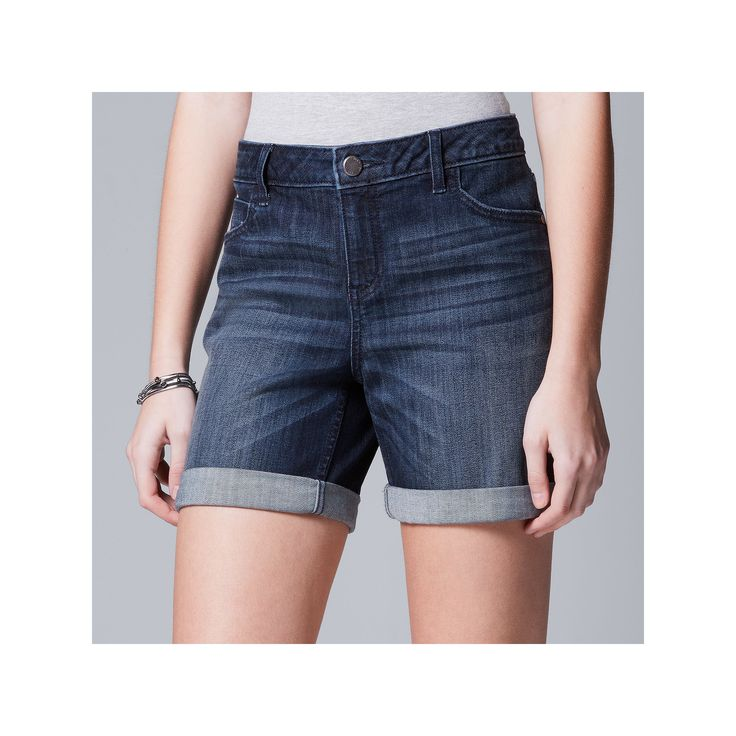 Women's Simply Vera Vera Wang Cuffed Jean Shorts, Size: 14, Dark Blue