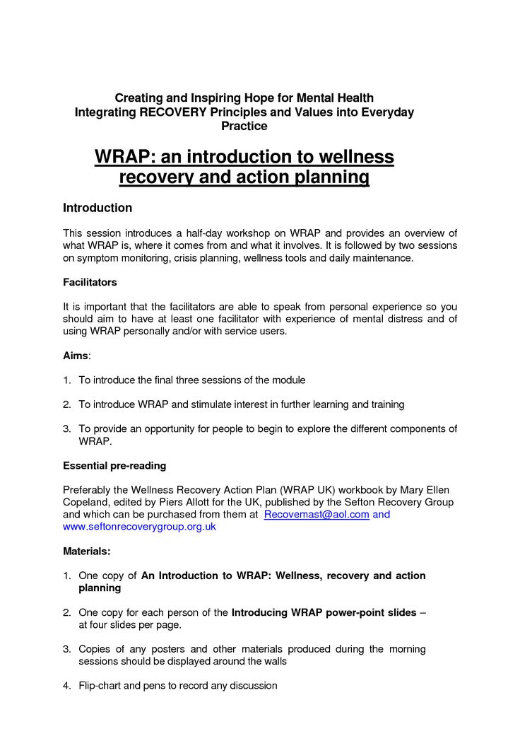 Wellness Recovery Action Plan Worksheet in 2020 Wellness