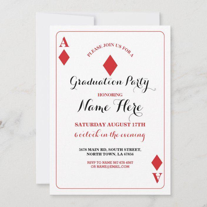 Graduation Party Diamond Playing Card Vegas Invite Zazzle Com Playing Card Invitation Invitations Playing Cards