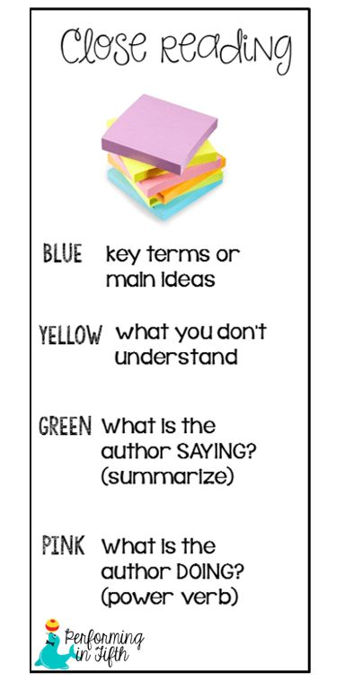 """After I posted my lesson on Close Reading and annotating the text a couple of weeks ago, I've received quite a few e-mails requesting pictures of the OTHER side of the bookmark: Using sticky notes to Close Read.  I had my sixth grade students cut the sticky notes into 3 pieces, and they used them throughout Chapter Six ofThe Hidden Girl. Don't forget that the """"key terms or main"""