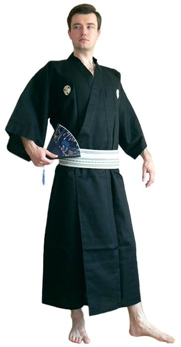 Men's kimono and haori are on the whole more subdued in color than women's. For men, haori is regarded as an essential kimono attire along with the hakama, the long pleated loose-fitting trousers. Black haori and hakama make the most formal ceremonial ensemble.