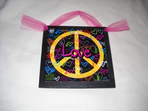 Love Hearts in Yellow Peace Sign Wooden Wall Art Teen Girls Bedroom Decor   7 99. 28 best peace and love bedroom images on Pinterest