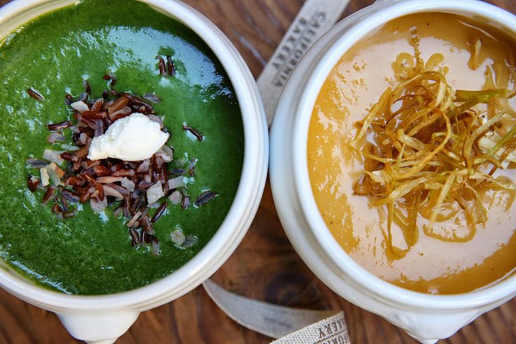 Thanksgiving - Sweet potato, apple and leek velouté, Watercress soup with red rice and bacon