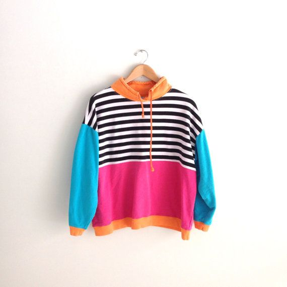 80s vintage striped colorblock Sweatshirt by louiseandco on Etsy, $25.00