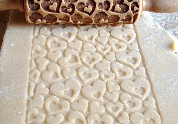 Hearts 1 Laser Engraved Wooden Rolling Pin Embossing
