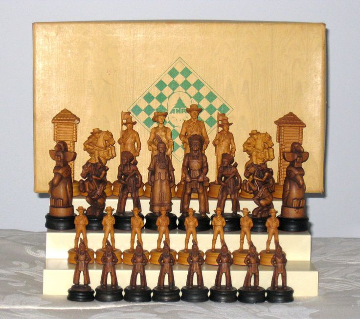 Vintage ANRI Italian FAR WEST Figural Carved Wood Chess Set Cavalry Indians HTF #ANRI