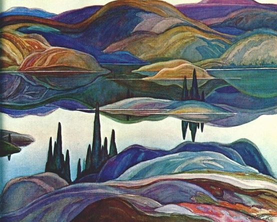 Franklin Carmichael (Canadian, 1890-1945), Mirror Lake, 1929. Watercolour over graphite on paper 51.0 x 68.7 cm. McMichael Canadian Art Collection.