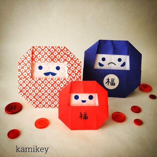 だるまさん Daruma design by kamikey まず、8マス×8マスの折りすじをつけます 3 2でつけた折りすじの線にフチを合わせて折りすじをつけます 他の3ヵ所も同様に ...