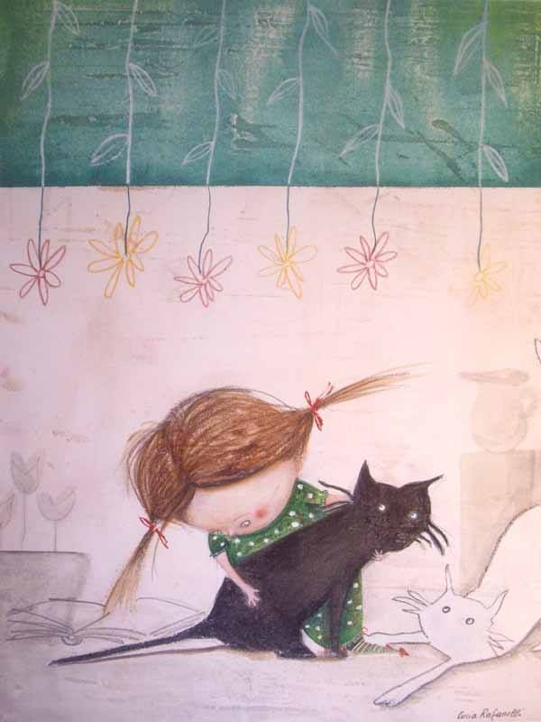 ilustración de Lucia Rafanelli Little girl in green checking her kittens