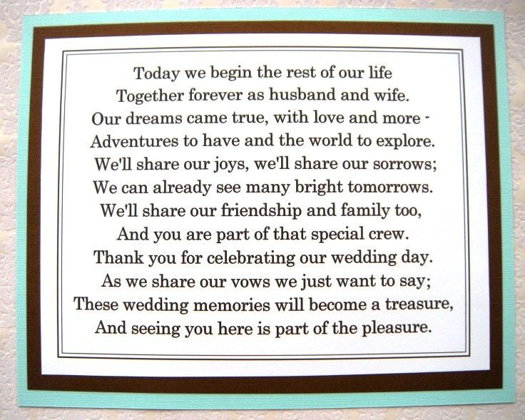 8x10 Flat Tiffany Blue And Brown Thank You For Celebrating Our Wedding Poem Sign