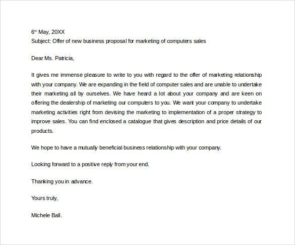 Business Proposal Letter 31 Sample Business Proposal Letters