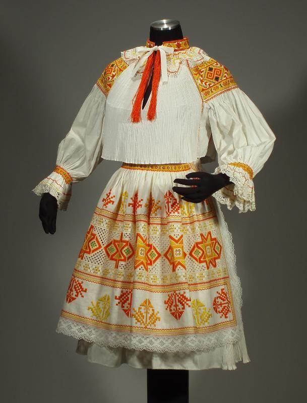 RARE Slovak Folk Costume Embroidery Blouse Lace Apron Pleated Skirt Cicmany Kroj | eBay