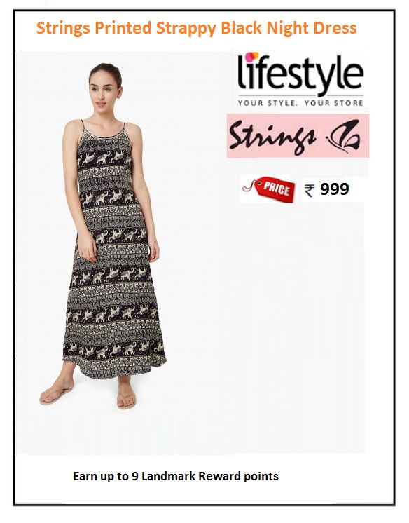 #Strings #Printed #Strappy #Black #Night #Dress  #Type : Night gowns #Price: ₹999.00 #Fabric : Rayon