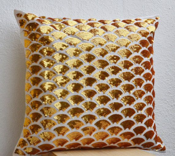 Gold sequin pillows with embroidered waves - Sashiko pillow covers - Gold Cushion cover zipper - Throw pillow - gift - 16x16 - Gold pillows