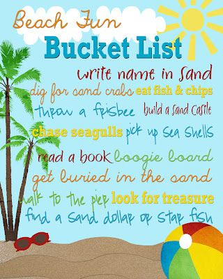 {free} printable Beach Fun Bucket List