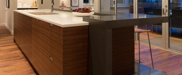 Quartz material fabricated into a custom dinning bar
