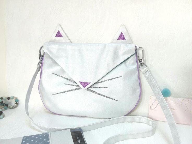 Sac enfant chat, sac bandoulière en jean argenté, sac à main pour fille, sac en tissu brillant, sac original, sac paillettes, sac besace