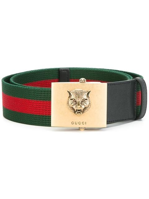 GUCCI feline buckle web belt. #gucci #belt