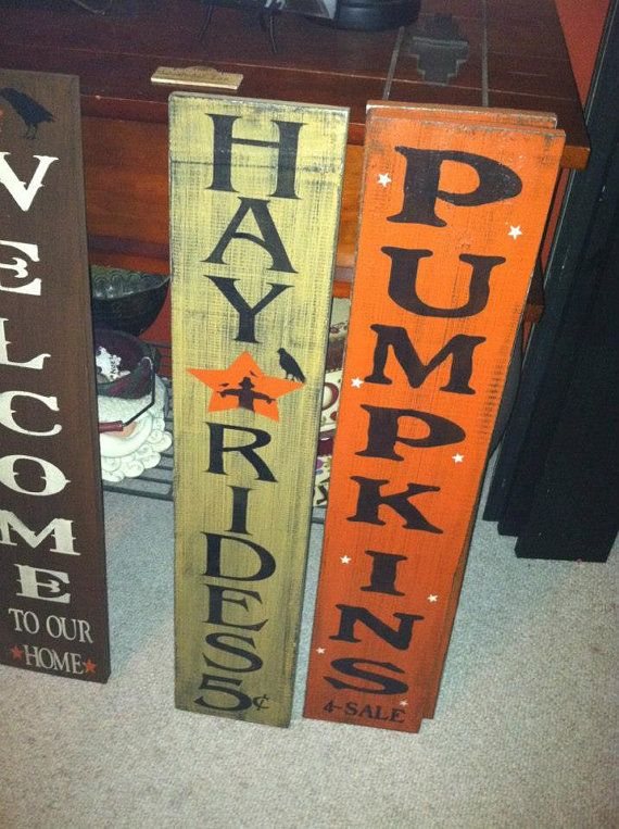 Hand Painted Wood HAYRIDE or PUMPKIN Fall Wall by TheCountryNook, $25.00