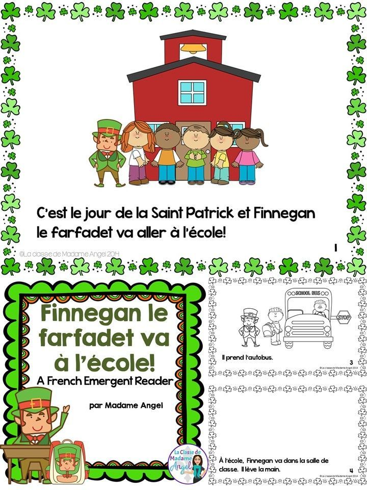 """La Saint Patrick!  Fun emergent reader in French!  Follow this """"farfadet"""" as he spends Saint Patrick's Day at school.  Great for beginning French readers!"""