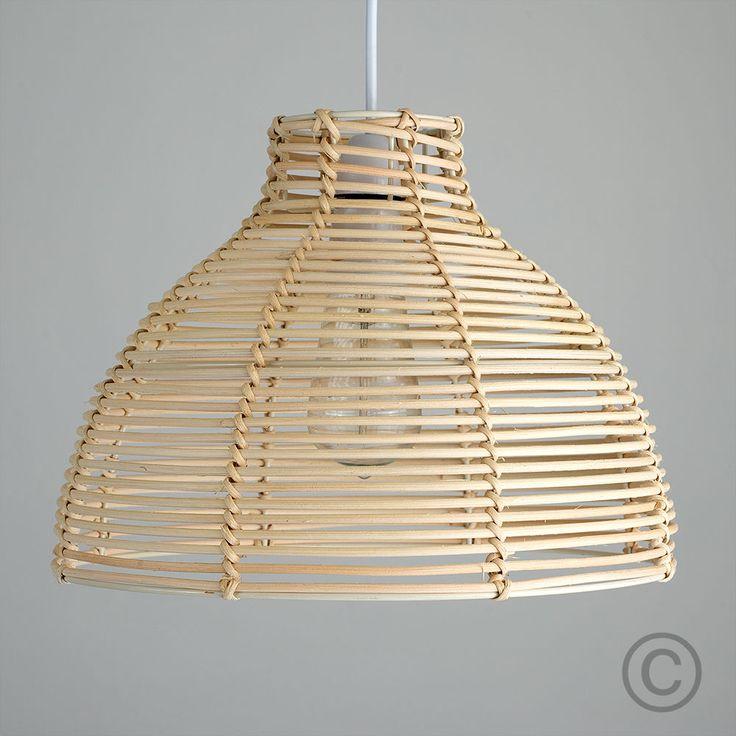 Rustic Cream Wicker Rattan Basket Ceiling Pendant Light Shade Lampshade Home