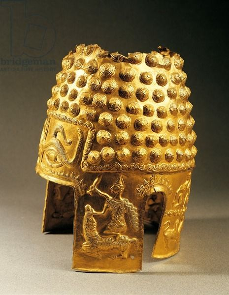 Embossed gold helmet from Poiana Prahova, Romania, Geto-Dacian Civilization, 5th Century BC. Bucharest, Muzeul National De Istorie Al Romaniei (Archaeological And Art Museum)