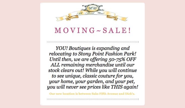 YOU! Boutiques is moving locations!!! At our Short Pump Towne Center location we are having 50% or 75% off everything that is left in the store! Hurry in today to take advantage of these great deals! We look forward to seeing everyone at our new location at Stony Point Fashion Park :) #YOU!Boutiques #you #home #garden #pet #jewelry #decor #dog #cat #collars #sandals #shoes #college #christmas #purse #handbag #store #pretty #SALE #mall