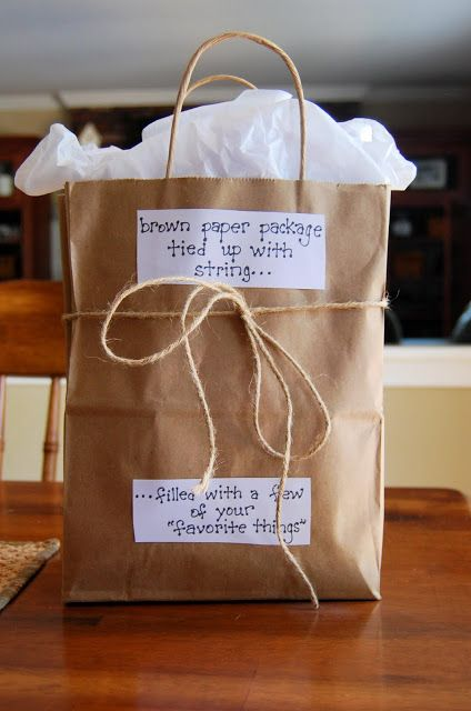 """a few of your favorite things"" gift bag inspired by the musical ""the sound of music""...great idea for a teacher or someone you know well"