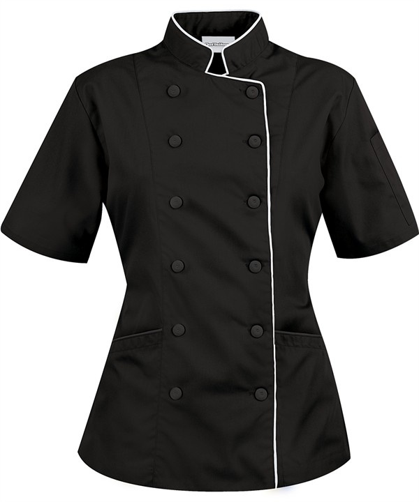 Chef jacket - Style# 86315 Women's Tailored Short Sleeve Chef Coat with Piping As low as $29.99  http://www.chefuniforms.com/chef-coats/short-sleeve-chef-coat/