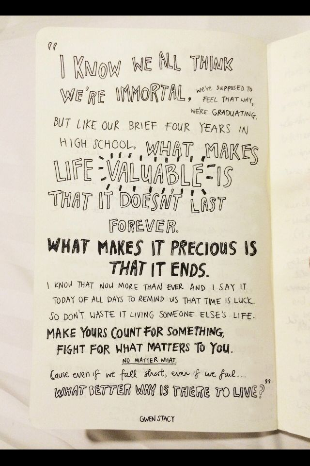 Gwen Stacy S Speech Is Perfection Words Pinterest