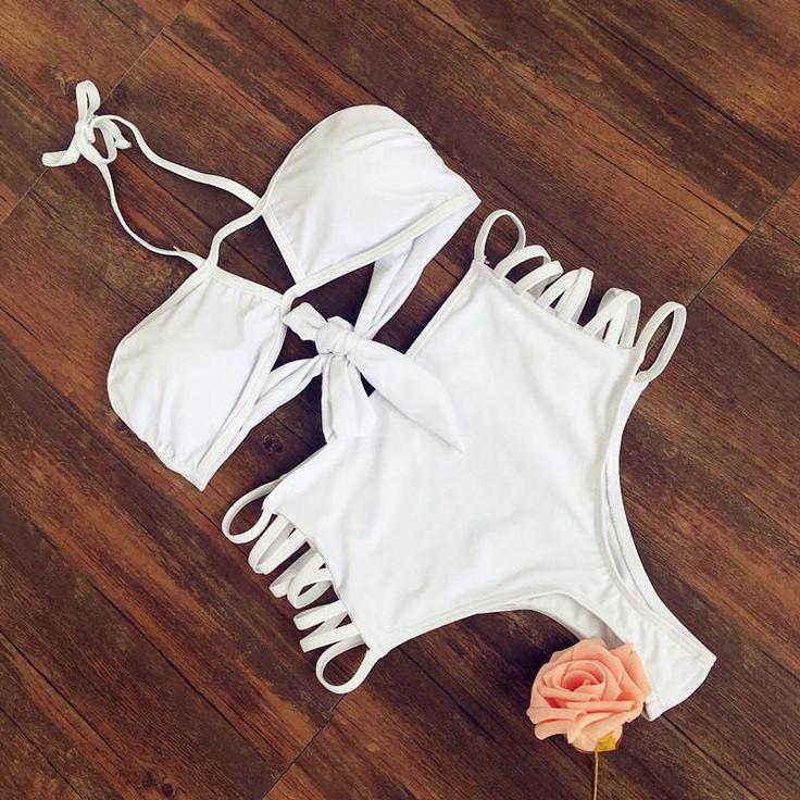 Strappy Retro Solid Color High Waist Bikini