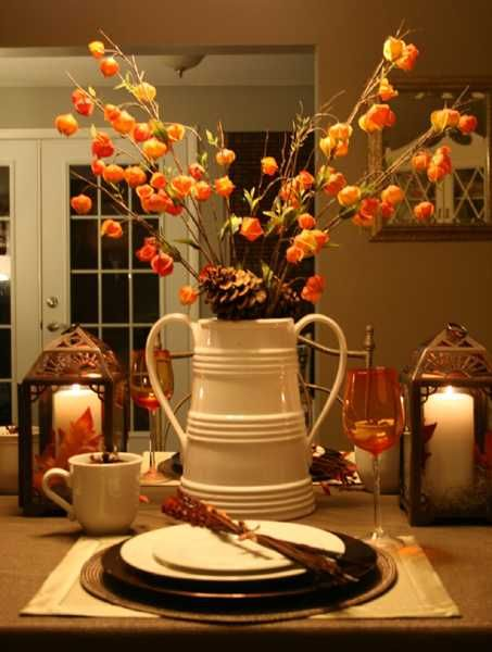 44 Incredible Autumn Table Arrangements  REMEMBER your nice green pitcher!!  and the two matching bread pans.... you can use those as well!  NICE!!  free no $$