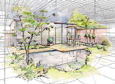 perspective hand drawn garden design - Garden Design Drawing
