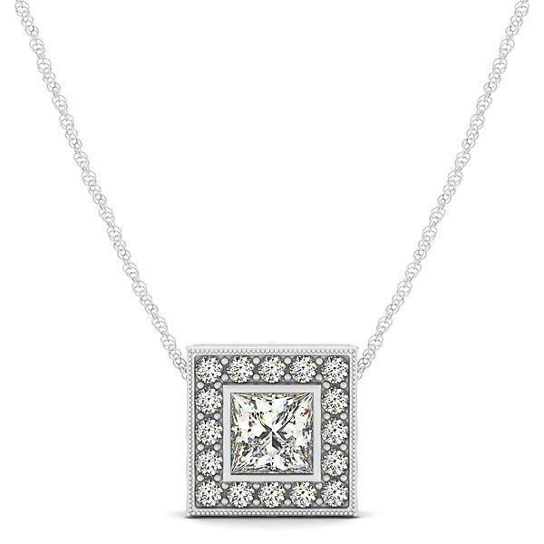 1/5 ct tw Princess Cut GIA Certified Diamond Halo Pendant with F Color VS Clarity Diamonds