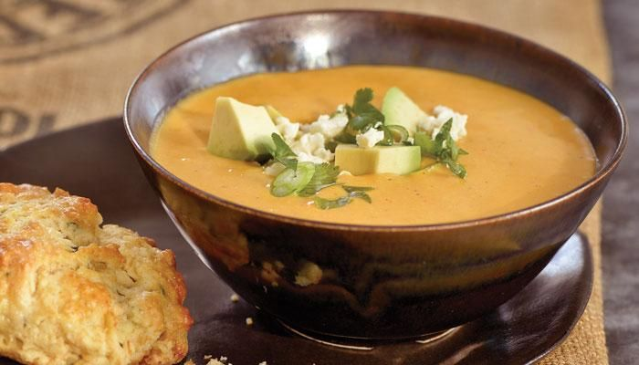 This version of perfect cold weather food incorporates ground annatto seeds to perfume the soup with a musky aroma and splash the potatoes with a sunny disposition.