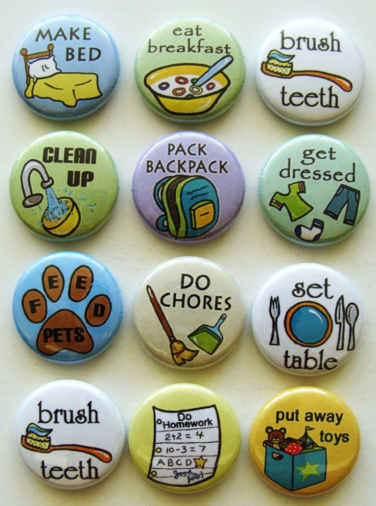 cute idea for a chore chart with DIY magnets