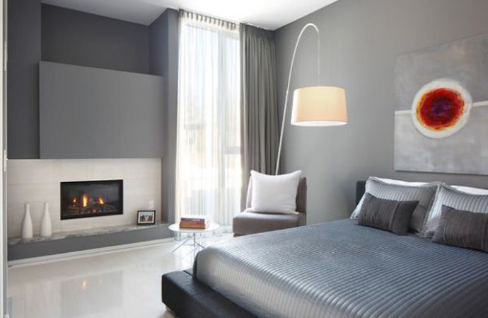 a bedroom in the hannon richards south residence; featured in Design Rulz's 45 Bedrooms With Fireplaces Make Winter A Lovely Season / the bedroom is organized as a master room with fireplace, ensuite, and walk-in closet, creating a luxurious sense of privacy and intimacy / residential / davignon architecture + interior design
