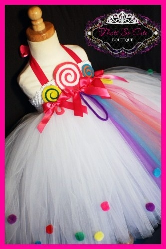Lollipop Candy Land Tutu Dress - Love the pom poms on the skirt! Now I want a grown up version for me to wear to raves! LOL