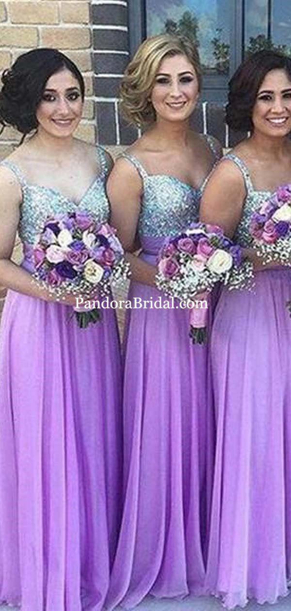 Shiny Silver Top Sequin Long A Line Lavender Chiffon Bridesmaid